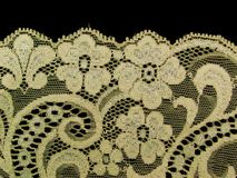 Ecru floral lace band Royalty Free Stock Images