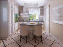 Ecru kök med det belade med tegel golvet Royaltyfri Bild