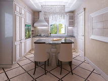 Ecru kitchen with tiled floor Royalty Free Stock Image