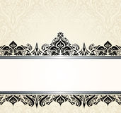 Ecru pale and black vintage invitation design Royalty Free Stock Photography