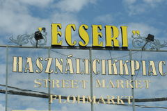 Ecseri antique flea market sign in Budapest Stock Photography