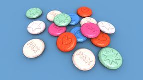 Ecstasy pills. A 3D render of some colored ecstasy pills Royalty Free Stock Images