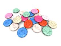 Ecstasy pills. A 3D render of some colored ecstasy pills Stock Images