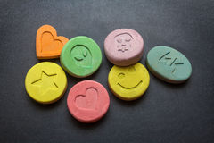 Ecstasy pills. Ecstasy tablets on black background Stock Image