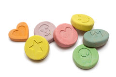 Ecstasy pills. Ecstasy tablets on white background Stock Image
