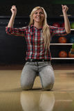 Ecstatic Bowling Women With Raised Hands Royalty Free Stock Photos