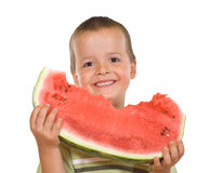Ecstatic boy with watermelon slice Stock Image