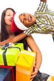 Ecstatic boy and woman celebrating Christmas Royalty Free Stock Photo