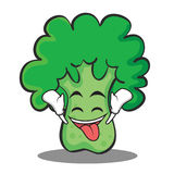 Ecstatic broccoli character cartoon style Royalty Free Stock Photos