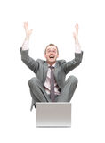 Ecstatic business man Royalty Free Stock Photo