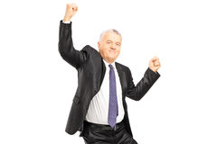 Ecstatic businessman with hands in the air Stock Images