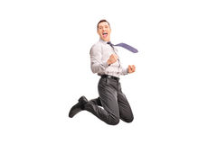 Ecstatic businessman jumping in the air Royalty Free Stock Photography
