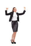 Ecstatic businesswoman in suit. Royalty Free Stock Photography