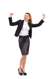 Ecstatic businesswoman in suit. Stock Photo