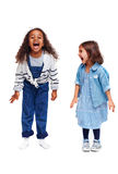 Ecstatic children. Adorable and ecstatic girls in casual-wear stock images