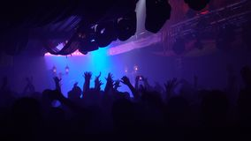 Ecstatic crowd in illuminated nightclub