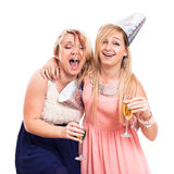 Ecstatic drunken girls celebrate Stock Photography
