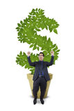 Ecstatic entrepreneur with money tree Royalty Free Stock Images