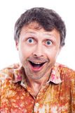 Ecstatic face. Closeup of happy ecstatic man face, isolated on white background royalty free stock photos