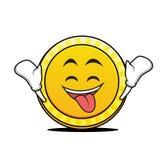 Ecstatic face coin cartoon character Royalty Free Stock Photo