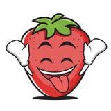 Ecstatic face strawberry cartoon character Royalty Free Stock Photos