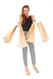 Ecstatic female shopper Stock Images