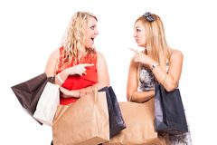 Ecstatic friends shopping Stock Image
