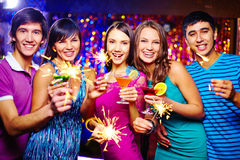 Ecstatic friends Stock Images