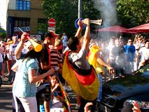 Ecstatic German public after the football world cu Stock Image