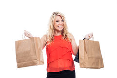 Ecstatic girl shopping Royalty Free Stock Image