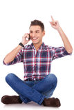Ecstatic and happy on the phone Stock Photography