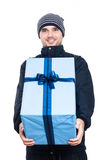 Ecstatic man with big present Royalty Free Stock Image
