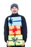 Ecstatic man with presents Stock Images