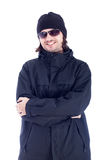 Ecstatic man in winter clothes Royalty Free Stock Photography