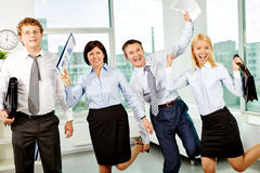 Ecstatic office workers Royalty Free Stock Images