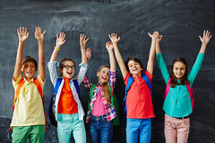 Ecstatic schoolkids Royalty Free Stock Images