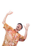 Ecstatic shocked man. Looking up and gesturing, isolated on white background stock photography