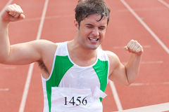 Ecstatic sprinter showing expression of victory Royalty Free Stock Photos