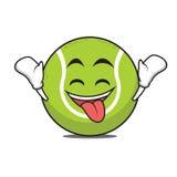 Ecstatic tennis ball cartoon character Royalty Free Stock Image