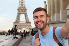 Ecstatic tourist in the Eiffel tower.  royalty free stock photos