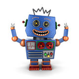 Ecstatic vintage toy robot Royalty Free Stock Photography