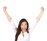 Ecstatic winner winning woman. Ecstatic! Very happy and ecstatic winner of something. Isolated on white background royalty free stock photography