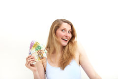 Ecstatic woman brandishing euro banknotes Stock Image