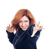 Ecstatic woman with earphones Royalty Free Stock Photos