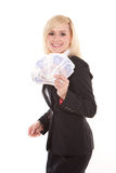Ecstatic woman with a fistful of money Royalty Free Stock Photos