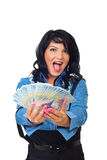 Ecstatic woman giving Romanian banknotes Stock Photo