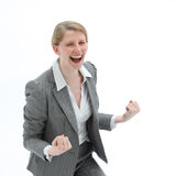 Ecstatic woman laughing Stock Photos