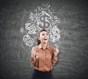 Ecstatic woman near a chalkboard with dollar signs Stock Photography