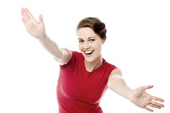 Ecstatic woman with open arms Royalty Free Stock Photography