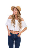 Ecstatic Woman In Summer Straw Hat Loking Up Royalty Free Stock Images